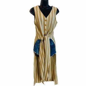 Vintage Striped Duster Vest w Side Splits Size 9